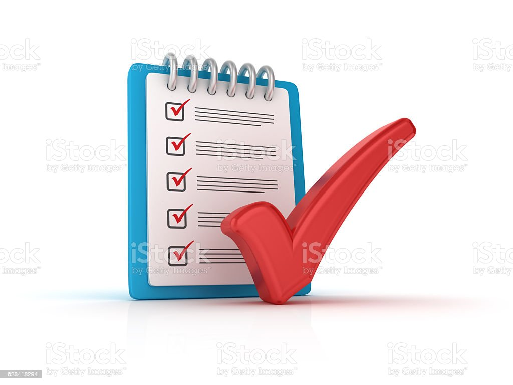 Red Check Mark with CheckList Clipboard - 3D Rendering – Foto