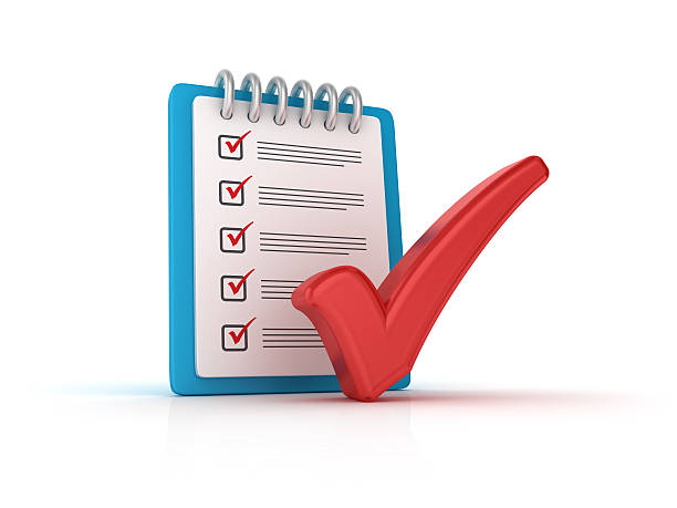 Red Check Mark with CheckList Clipboard - 3D Rendering stock photo
