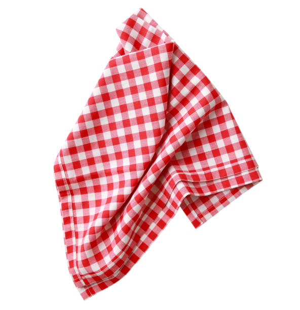 Red checkered clothes isolated. Red checkered clothes isolated.Picnic towel. red cloth stock pictures, royalty-free photos & images