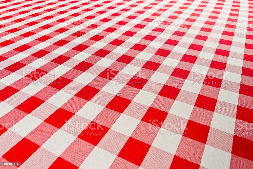 Red Checkered Gingham Table Cloth royalty-free stock photo