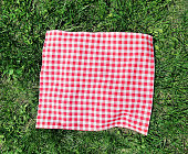 Red checkered picnic cloth over green grass top view.