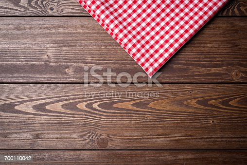 istock Red checkered tablecloth 700110042