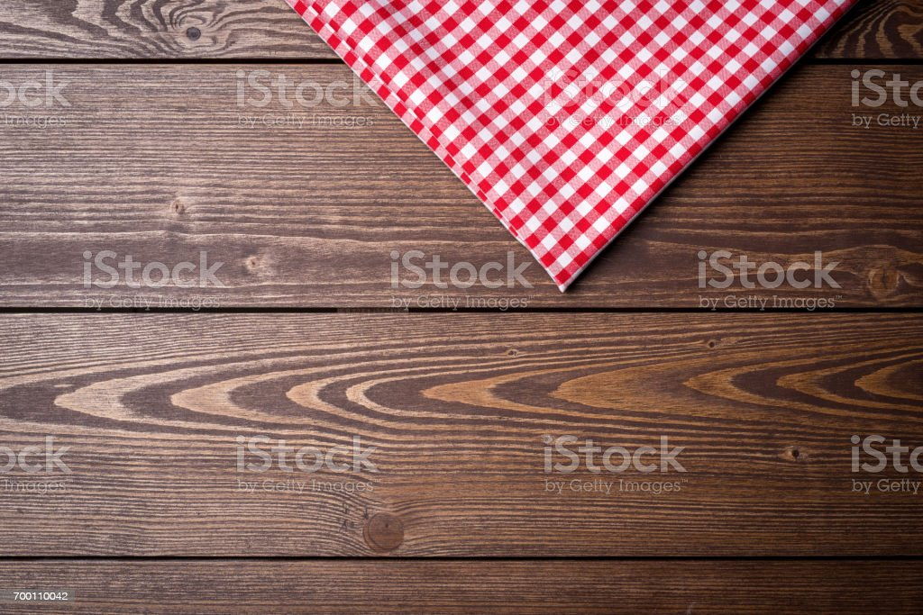 Red checkered tablecloth stock photo