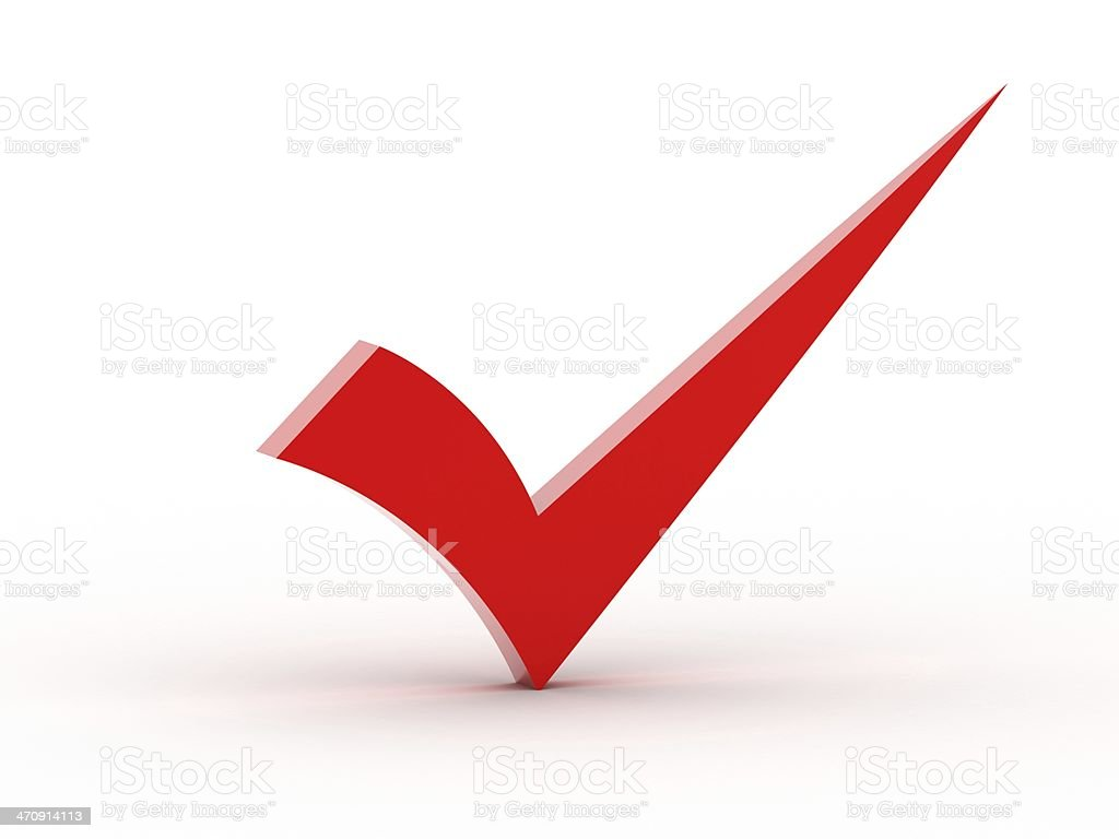 Red checkmark stock photo