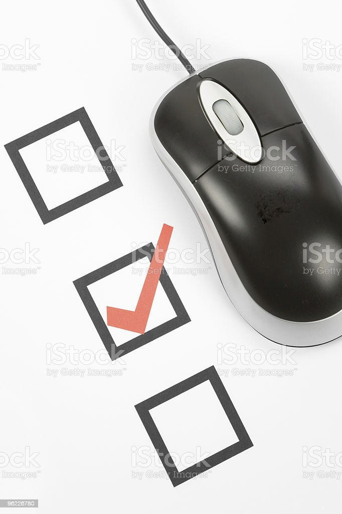 Red checkmarked box and computer mouse template royalty-free stock photo