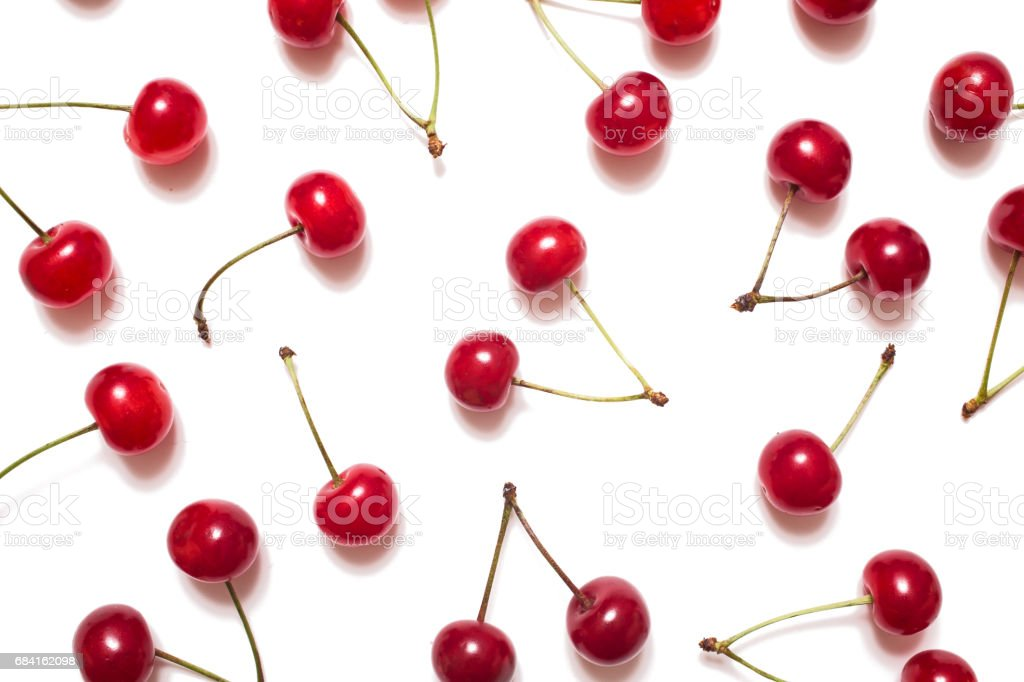 Red cherry isolated on white background. Juicy ripe berry royalty-free stock photo