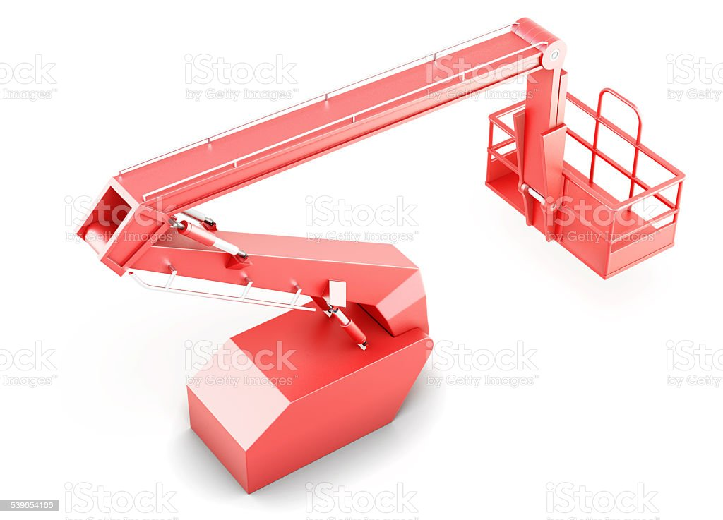 Red cherry picker platform isolated on white background. 3d rend stock photo