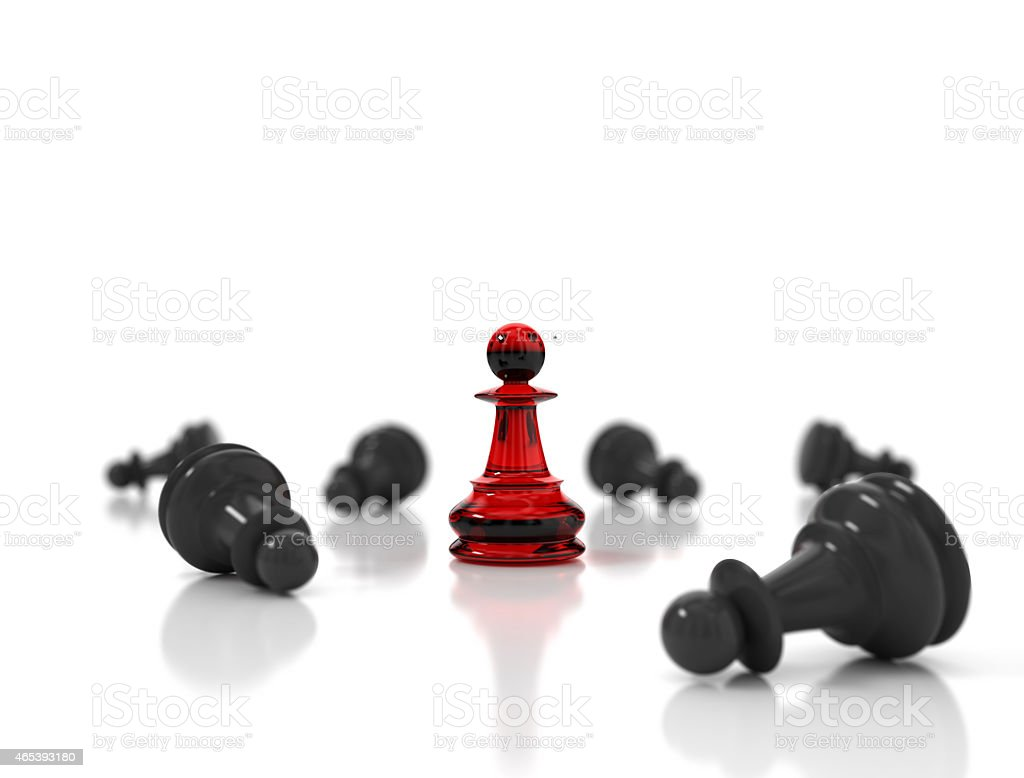 Red chess pawn stock photo