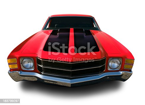 Red Chevrolet Chevelle from 1971. Clipping Path on Vehicle. Logos removed.