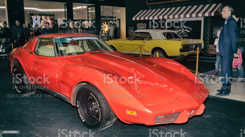 Moscow, Russia - April 02, 2017: Red Chevrolet Corvette C3 String Ray, USA, 1974. Retro car exibition in shopping mall Metropolis. stock photo