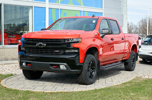 Montreal, Canada - May 2, 2020: Red Chevy Z71 Silverado car. Chevrolet colloquially referred to as Chevy and formally the Chevrolet Division of General Motors American car manufaturing Company