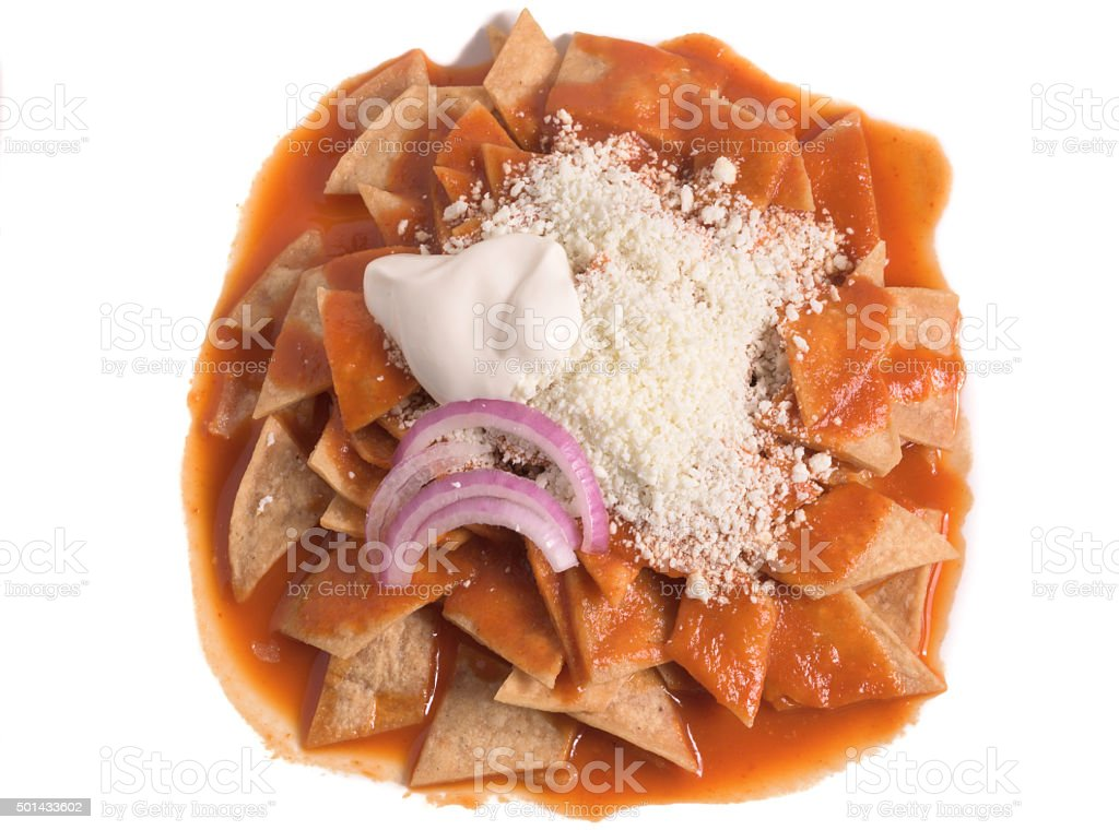 Chilaquiles rojos (red chilaquiles) stock photo