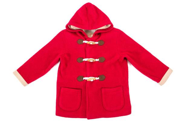Red children jacket isolated on white background.Christmas jacket isolated - foto stock