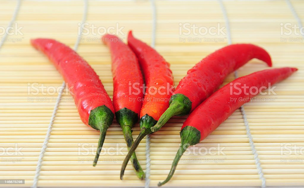 red chili on bamboo mat royalty-free stock photo