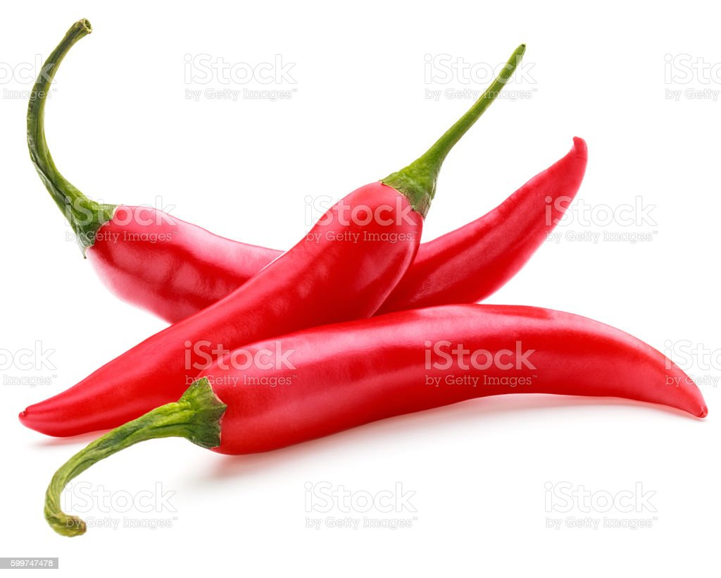 red chili or chilli cayenne pepper isolated on white  background stock photo