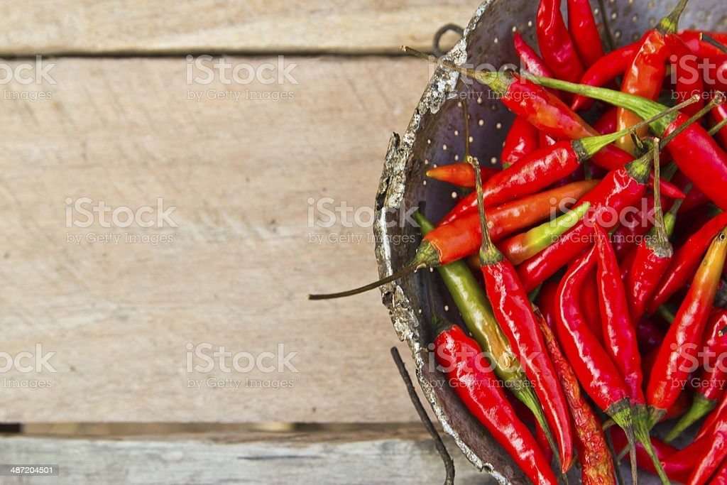 Red chili pepper on  gray marble table. stock photo