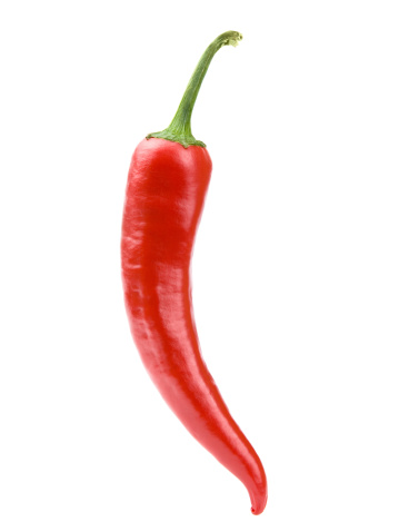 Red Chili Pepper On White Background Clipping Path Stock Photo - Download Image Now