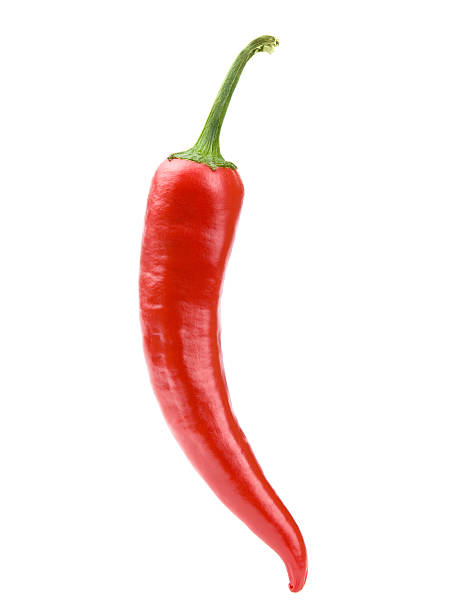 red chili pepper on white background clipping path - chilli stock photos and pictures