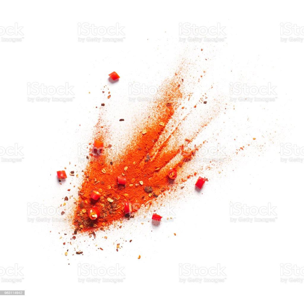 Pimienta de Chile rojo, polvo y escamas estalladas foto de stock libre de derechos