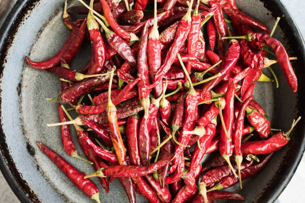 Red chili peppers air drying, close-up stock photo