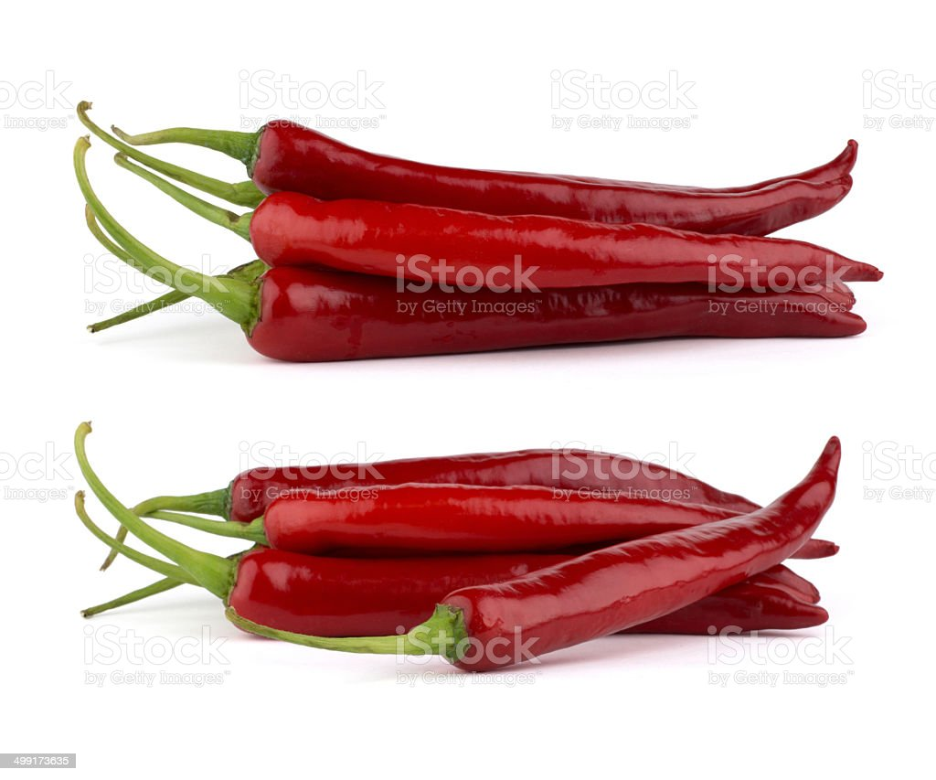 Red chili peppers isolated on white background stock photo