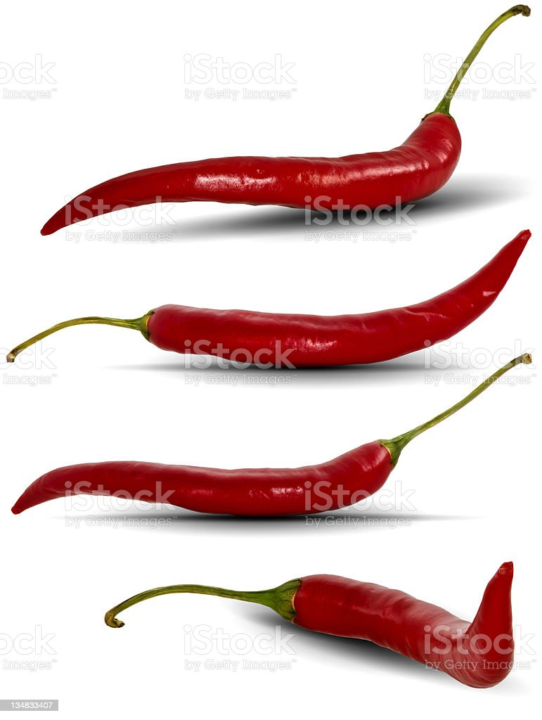 Red Chili peppers isolated on white. royalty-free stock photo