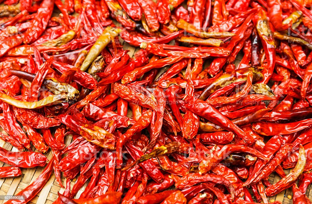 Rosso Chili peppers a cestello foto stock royalty-free