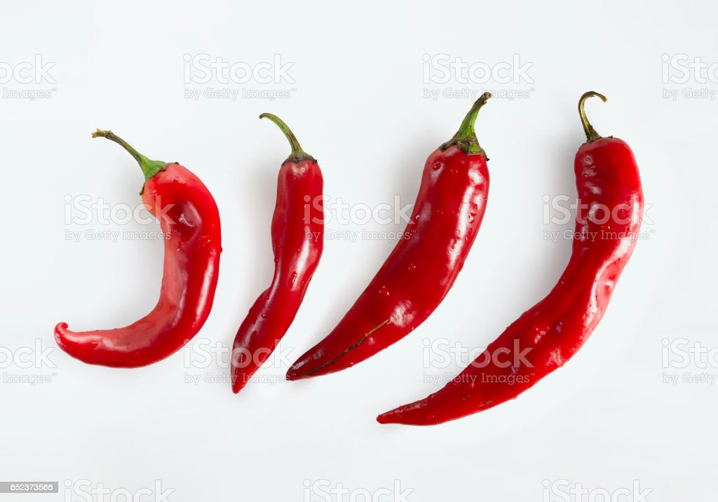 Red chili peppers on white background stock photo