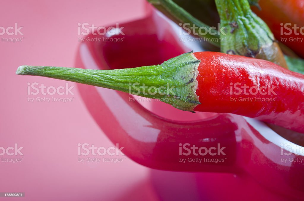 Red chilli in baking dish closeup royalty-free stock photo