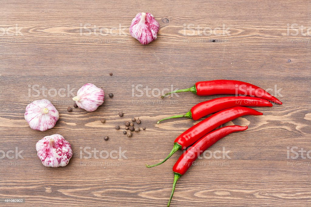 Red chilli pepper and garlic stock photo