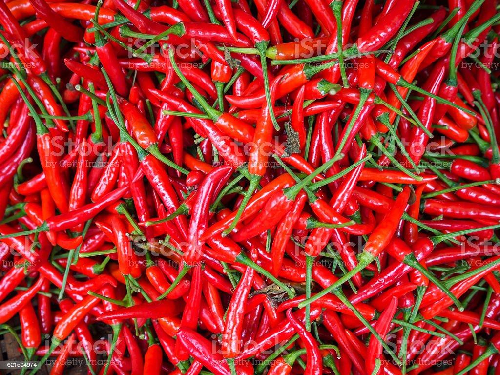 Red chillies zum Verkauf auf Markt, Thailand  Lizenzfreies stock-foto