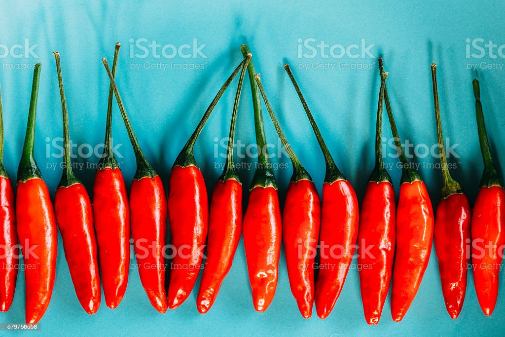 Red chillies in a row stock photo