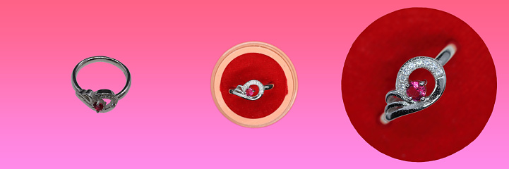 istock Red Chimes Platinum Plated Elegant Classic Crystal Silver Adjustable Rings design for Women 1262663986
