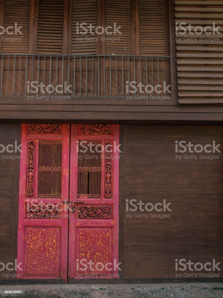 Red Chinese Door In Tradition Thai House Stock Photo More Pictures