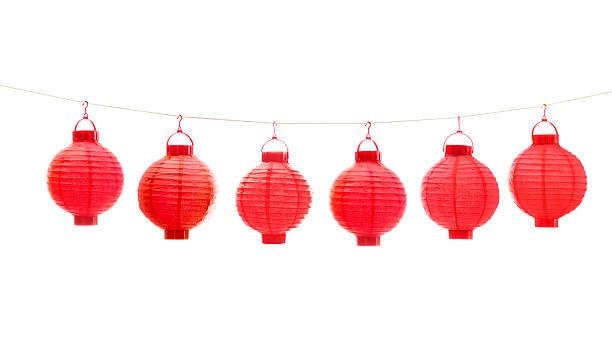 red chinese lantern on white background - rislampa bildbanksfoton och bilder