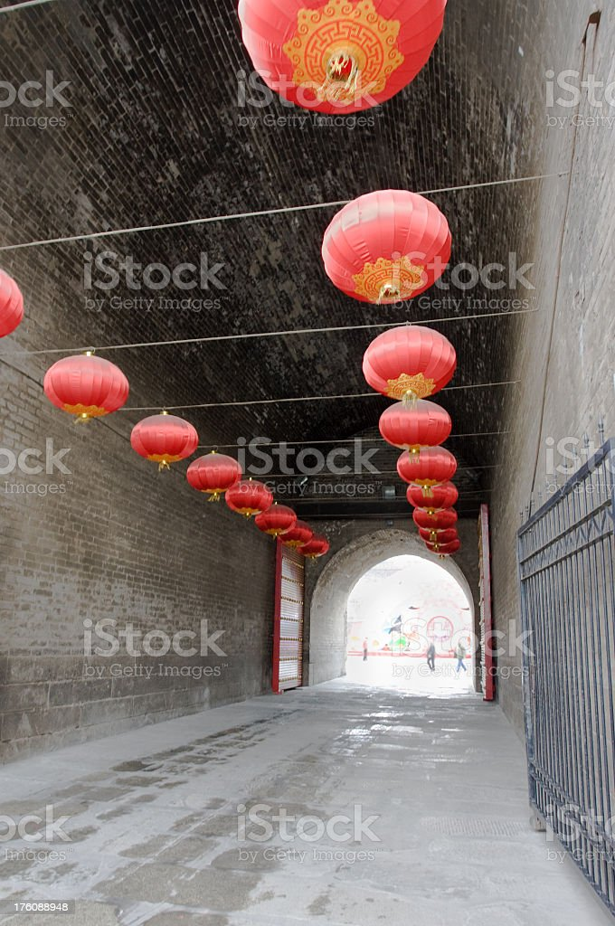 Red Chinese Lanterns, Xian, China royalty-free stock photo