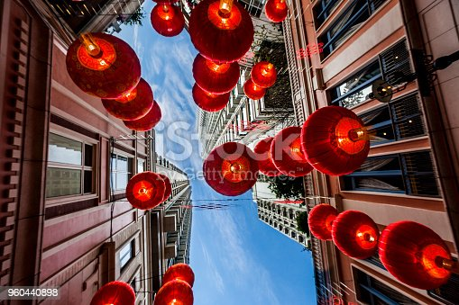 Red Chinese new year lanterns hanging  on the street