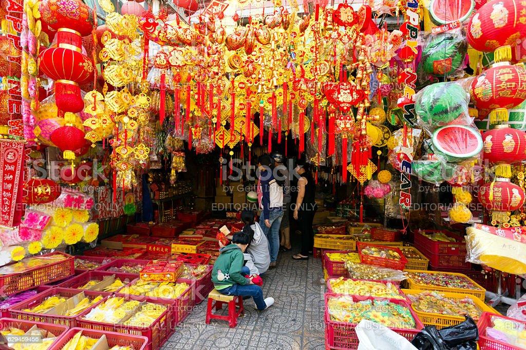 Red Chinese New Year Ornament Tet Vietnam stock photo