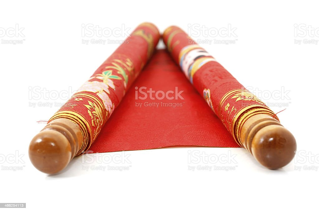 Red Chinese scroll stock photo