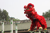 Red chinese Traditional lion dancing performance celebration festival Chinatown