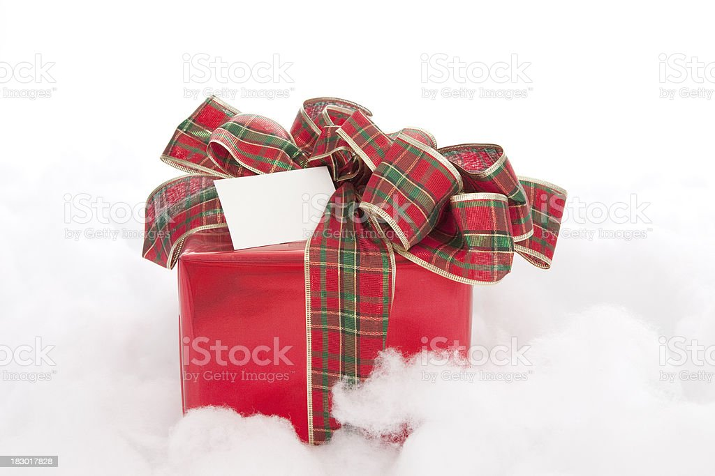 Red Chrismas Gift with Large Plaid Bow stock photo