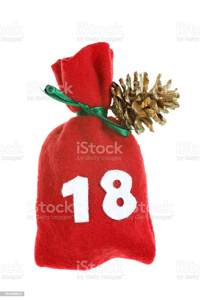 red Christmas bag for advent calendar isolated on white day 18