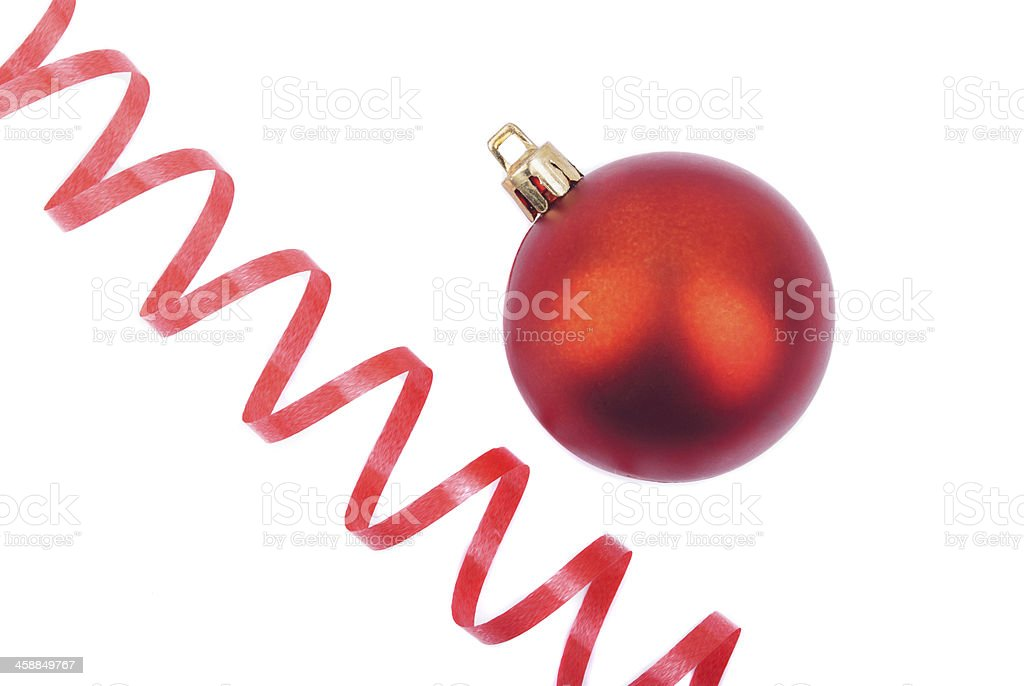 Red Christmas ball and serpentine. stock photo