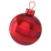 istock Red Christmas ball bauble Happy New Year icon concept 1011761812
