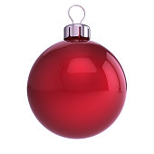 red Christmas ball decoration closeup. New Year's Eve hanging adornment traditional, Merry Xmas wintertime ornament glossy. 3d illustration