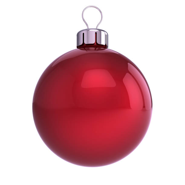red Christmas ball classic decoration closeup red Christmas ball decoration closeup. New Year's Eve hanging adornment traditional, Merry Xmas wintertime ornament glossy. 3d illustration christmas ornament stock pictures, royalty-free photos & images