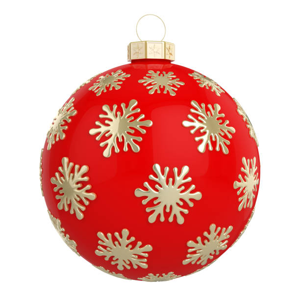 Red Christmas ball decorated with golden snowflakes stock photo