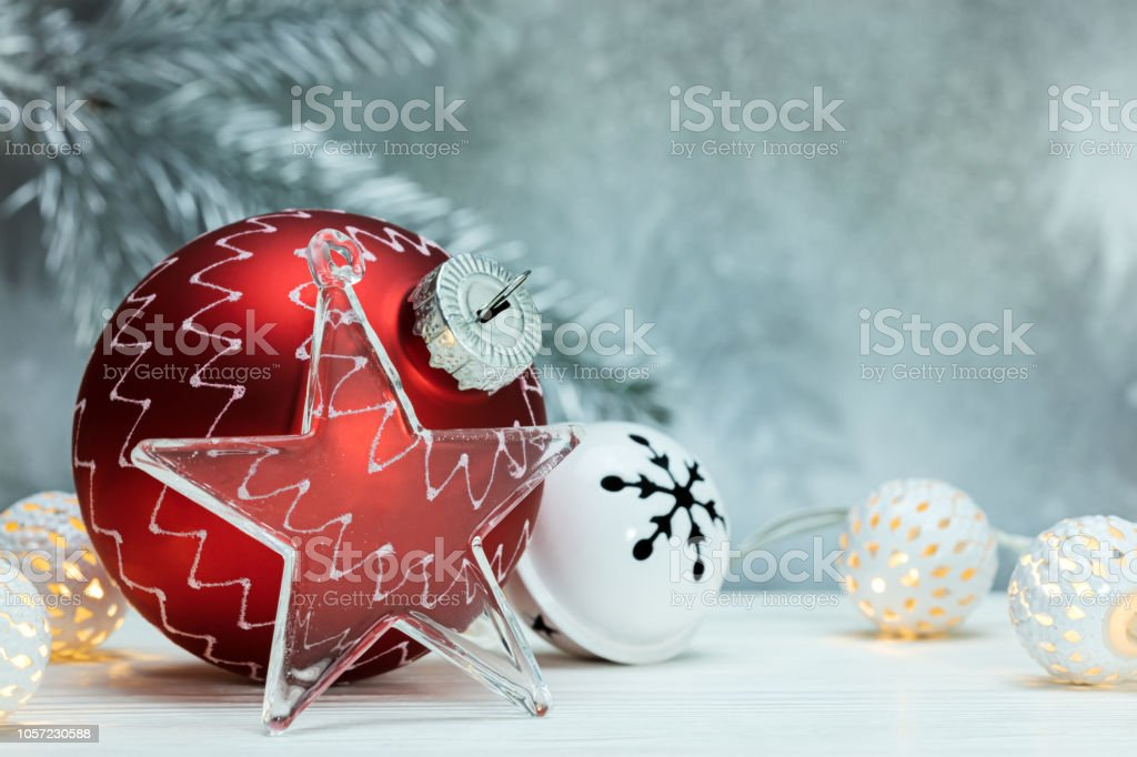 Christmas Ball Garlands.Red Christmas Ball Garlands And Decorative Glass Star On