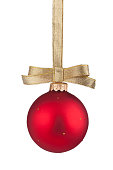 istock Red Christmas ball hanging on golden ribbon 494565958