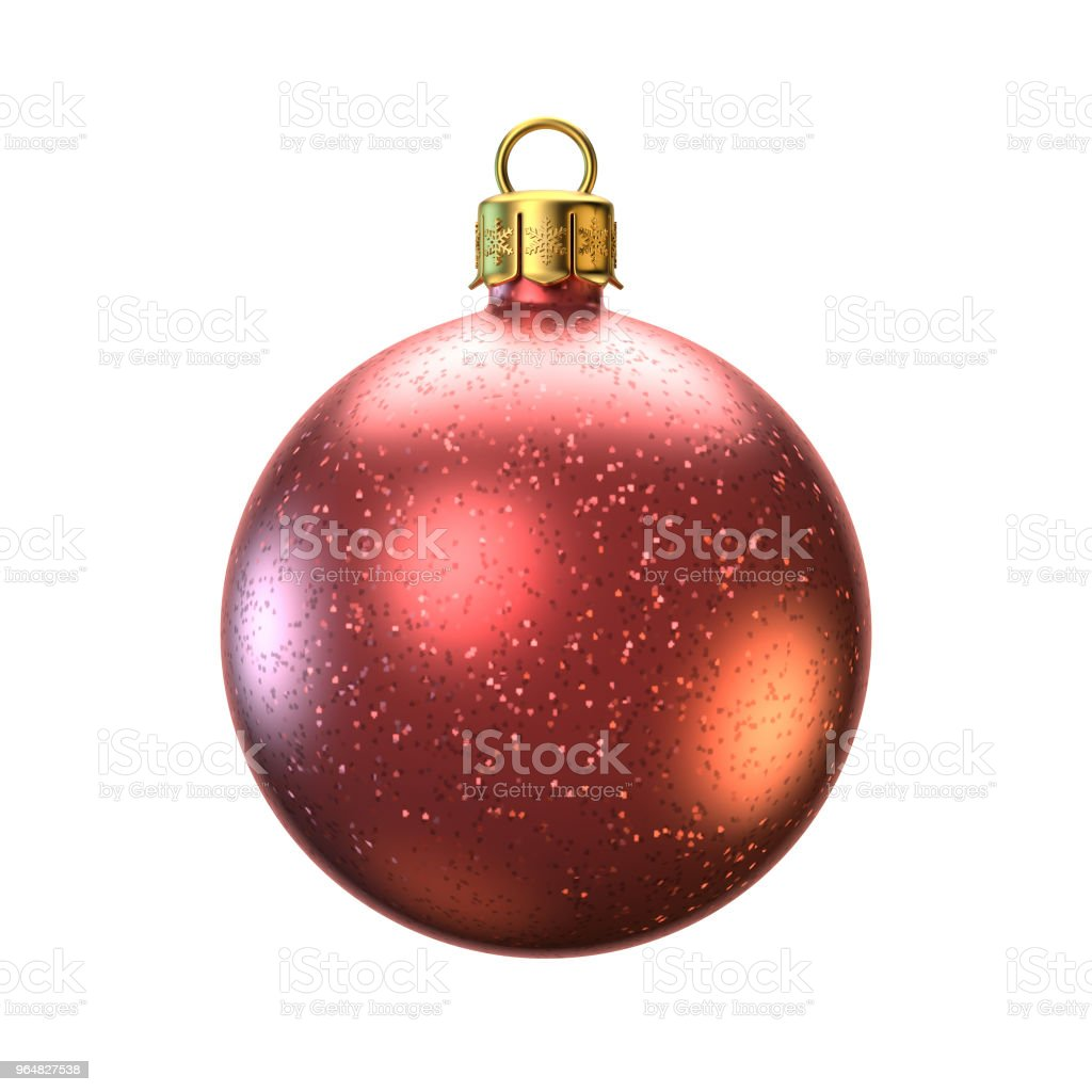 Red Christmas ball isolated on white background. Greeting card design element royalty-free stock photo